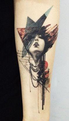 Illustration style pottrait sleeve tattoo - Here is a beautiful illustration of a modern beauty.