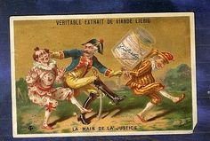 Chromo Liebig S137 Polichinelle Punchinello Gendarme policeman old Trade Card