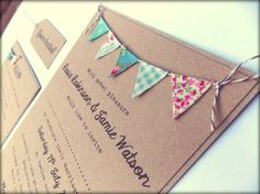 Wedding Invitation. Unique Rustic Kraft Card with Bunting. Summer Fete Country Wedding with RSVP Baby Shower. £3.00, via Etsy.