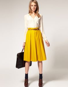 Asos Collection Asos Midi Skirt with Belt in Yellow (mustard)