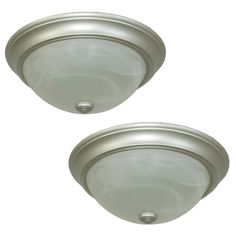 All Bedrooms and Playroom/Study  Project Source 2-Pack 13-in W Satin Nickel Ceiling Flush Mount Lights