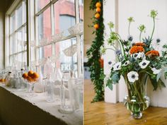 Anemone flower arrangements for a wedding with clementines and a doily and glass bottle window vignette // Emily Elizabeth Events + A love supreme photography + Pretty Flowers Maine + Fort Andross