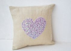 Items similar to Off White Burlap heart pillow, Lilac heart made with sequins Pillow, Decorative cushion cover, Sequin &Bead Pillow, Wedding Anniversary gift on Etsy Decorative Cushions, Decorative Pillow Covers, Throw Pillow Covers, Burlap Throw Pillows, White Pillows, Sequin Pillow, Heart Pillow, Pillow Forms, Wedding Anniversary Gifts