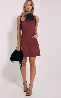 Lumi Burgundy Suede Pinafore DressLove this outfit: CollectiveStyles.com ♥ Fashion | Women apparel | Women's Clothes | Dresses | Outfits | Rompers | PlaySuits | Boohoo | Express | Off The Shoulder | #clothes #maxi #fashion #dresses #women #tops #shop