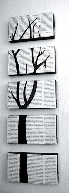 Leinwand mit Zeitungspapier bekleben & mit schwarzer Acrylfarbe einen Teil des Baumes drauf malen. Mit Klarlack besprühen - für einen schönen Glanz