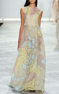 Pastel Patchwork Lace Embroidered Gown by Monique Lhuillier for Preorder on Moda Operandi