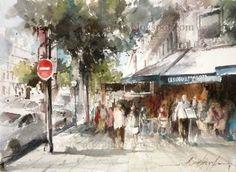Les Deux Magots, Paris | Watercolor by Brazilian Watercolorist Fábio Cembranelli