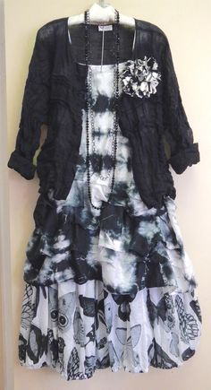 """I just love the way that the Krista Larson black tie-dyed Short Tunnel Slip flows into the butterfly print voile of the Nikki Skirt!!! Just add the linen gauze Stellah Button-Up Shirt as a little jacket for the perfect summer outfit."""