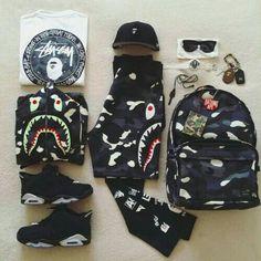 Teen Boy Fashion, Dope Fashion, Urban Fashion, Mens Fashion, Bape Outfits, Gucci Outfits, Swag Outfits, Air Jordan, Polo Sport