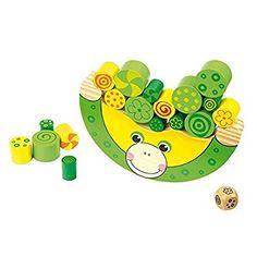Balancierfrosch aus Holz, Lernspiel / Motorikspielzeug inkl. Würfel, für Kinder ab 3 Jahren: Amazon.de: Spielzeug