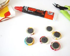 diy magnets from covered buttons, or just use the buttons, or use the buttons on bobby pins for cute hair accessories! scrap buster