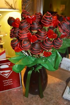 Chocolate covered strawberry bouquet! So easy to make. Strawberries on skewers and add coconut oil to chocolate to make it easier to work with!:)
