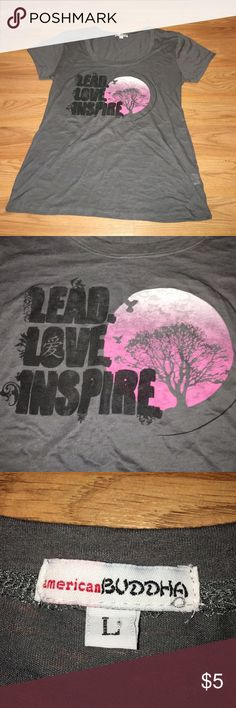 """Soft cotton graphic tee """"Lead. Love. Inspire."""" Great saying to start the new year! Soft cotton. Comfy fit american Buddha Tops Tees - Short Sleeve"""
