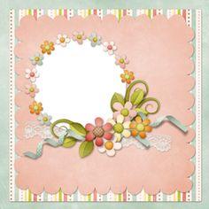 Frame - circular window with flowers