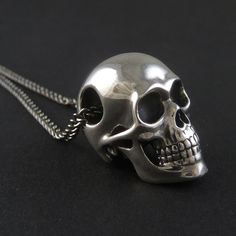 "Skull Necklace Sterling Silver Human Skull Pendant on 24"" Gunmetal Chain - The Silver Skull on Etsy, $220.00"