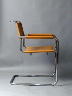 Thonet-S34-Mart-Stam-Freischwinger-Stuhl-Sessel-Leder-Art-Deco