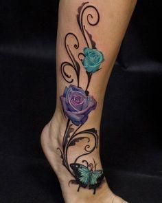 101 Best Rose Tattoo Ideas For Women Guide) - Rose and Butterfly Tattoo – Best Rose Tattoos For Women: Cute Rose Tattoo Ideas and Designs For G - Vine Tattoos, Rosen Tattoos, Mom Tattoos, Body Art Tattoos, Sleeve Tattoos, Tatoos, Stomach Tattoos, Henna Tattoos, Wrist Tattoos