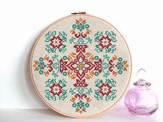 geometric cross stitch pattern modern cross stitch flowers