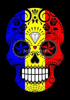 Sugar Skull with Roses and Flag of Romania