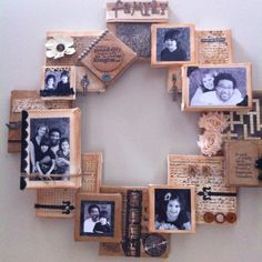 my family also deserves Picture Frame Projects, Family Picture Frames, Picture On Wood, Wood Pictures, Hanging Pictures, Picture Wreath, Photo Wall Decor, Stair Walls, Family Wall Art
