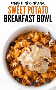 This sweet potato breakfast bowl is an easy, make-ahead healthy breakfast that reminds me of sweet potato casserole! // www.healthy-liv.com Banana Recipes Easy, Easy Asparagus Recipes, Easy Soup Recipes, Easy Delicious Recipes, Vegetarian Recipes Easy, Easy Chicken Recipes, Whole30 Recipes, Delicious Dishes, Amazing Recipes