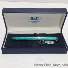 Blue Teal Enamel Guilloche Bossert Erhard Sterling Silver Roller Ball Pen CNX #BossertErhard