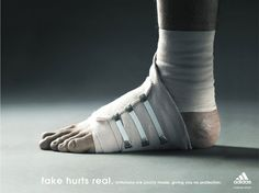 "ad from adidas ""Fake hurts real. Imitations are poorly made, giving you no protection."""
