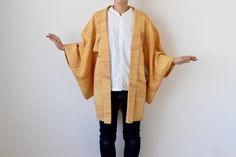 Etsy のhaori, dark yellow, Japanese kimono, kimono jacket, stripe /1556(ショップ名:LitreJapan)
