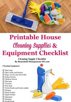 Here is a house cleaning supplies and equipment checklist, with exactly what you need for your home, plus a printable cleaning supply list {courtesy of Household Management 101} #CleaningChecklist #CleaningSupplies #CleaningEquipment Deep Cleaning Tips, House Cleaning Tips, Diy Cleaning Products, Spring Cleaning, Cleaning Hacks, Cleaning Services, Cleaning Supply List, Organizing Cleaning Supplies, Cleaning Service Flyer