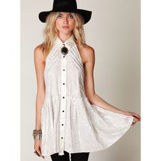 """Free People New Romantics Tuxedo T-Back Dress Stunning button-front tuxedo drop-waist dress. Collared halter neck with satin straps in back. Pleated bottom. Lined.  *88% Cotton, 12% Lurex  Measurements for Size Small: Length: 30 ½"""" Bust (relaxed): 36"""" Waist: 44"""" Free People Dresses Backless"""