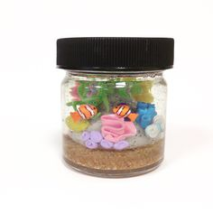 Mini polymer clay and resin aquarium. Entire piece is 2 inches tall…
