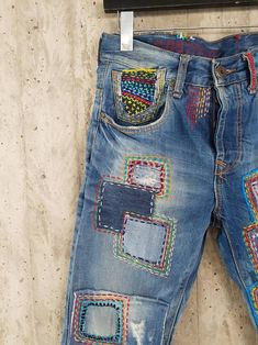 Diy Upcycled Clothing No Sew, Redone Jeans, Hipster Jeans, Patched Jeans, Denim Jeans, Estilo Hippy, Bohemian Pants, Tall Pants, Vintage Mom Jeans