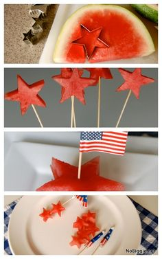 watermelon stars for the 4th of July - 3 ways - NoBiggie.net