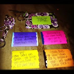 Fun high school graduation gift: Vera Bradley student ID holder/lanyard filled with gift cards from their college town!