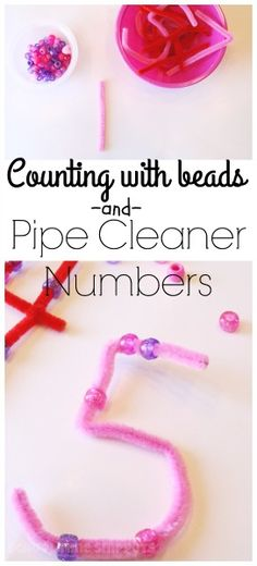 Math: Counting with beads and Pipe cleaners. Simple Math Tray for PreK-Kindergarteners to practice math skills like counting, correspondence, and number recognition AND work on fine motor skills! Teaching Numbers, Math Numbers, Teaching Math, Learning Numbers Preschool, Decomposing Numbers, Math Skills, Math Lessons, Touch Math, Touch Point Math