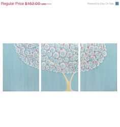 Clearance - Baby Nursery Art - Large Blue Tree Painting - Original Three Piece Wall Art Canvas 50X20 - IN STOCK. $129.60, via Etsy.
