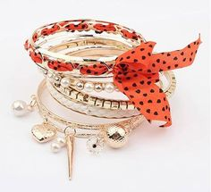 fashion multilayer pearl Dot Fabric Bracelet ( orange ) for $9 Only! Shop Now! for order queries inbox us at https://www.facebook.com/Glamourforgirls or email us at glamourous_girls@hotmail.com