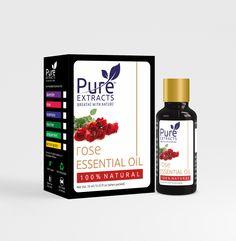 Essential Oil Packaging Design Rose Essential Oil, Packaging Design, Essentials, Pure Products, Design Packaging, Package Design