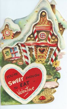 Vintage Greting Card - Valentine's Day Valentine Candy House Looks Like Gingerbread Christmas ODD