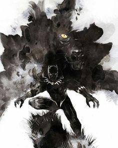 Black Panther (T'Challa King of Wakanda) - Marvel Comics - art by naratani Black Panther Marvel, Black Panther Art, Comic Book Characters, Marvel Characters, Comic Character, Comic Books Art, Comic Art, Marvel Films, Marvel Comics