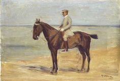 Max Liebermann - Reiter am Strand nach links; Creation Date: 1911; Medium: oil on cardboard