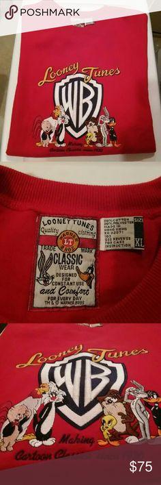 cb9baade WB Looney Tunes Sweat Shirt Classic Warner Bros. Looney Tunes Red long  sleeve sweat shirt. Embroidered. Warner Bros. Shirts Sweatshirts & Hoodies