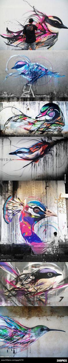 Beautiful graffiti birds by Brazilian street artist L7m - 300Pics