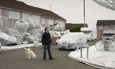 Funny PR: one of Britain's most accident-prone streets has been bubble wrapped.