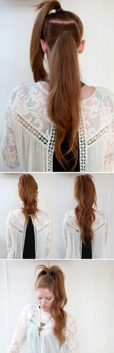 The Illusional Long  Ponytail | 23 Five-Minute Hairstyles