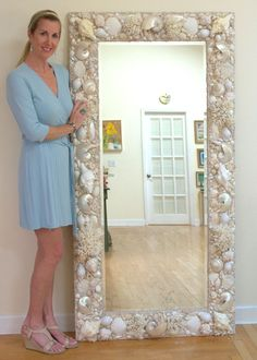 All White and Cream, Sea shell mirror. 6' x 3' WWW.ElegantShells...