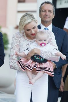 MyRoyals:  Princely Family of Monaco attend Pique Nique Monegasque, August 28, 2015-Princess Charlene with Princess Gabriella