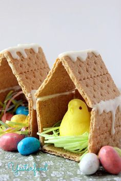Peeps Houses:  Whether you eat them or just leave them up as decor, these little Peeps houses are so simple and adorable that you'll definitely want to make them.