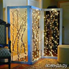 How-To: Twinkling Branches Room Divider Trees with twinkle lights really add to the cozy, festive atmosphere of a neighborhood, and now you can bring a bit of that magic indoors! Make your own lovely twinkling branches room divider with … Led Diy, Diy Room Divider, Divider Ideas, Divider Design, Folding Screen Room Divider, Glass Room Divider, Diy Casa, Branch Decor, Branch Art