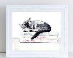 Black and White Kitties Giclee Print of от LauraRowStudio на Etsy